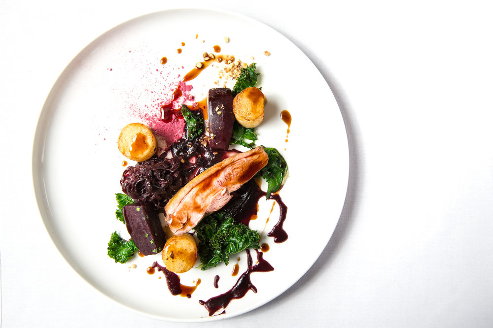 Pan Roast Gressingham Duck Breast, Fondant Potato, 'Our Farm' Braised Red Cabbage,Confit Beetroot, Curly Kale, Hazelnuts, Red Wine Jus WILDEBEEST-WHITE-PJB-2018 - 64.jpg