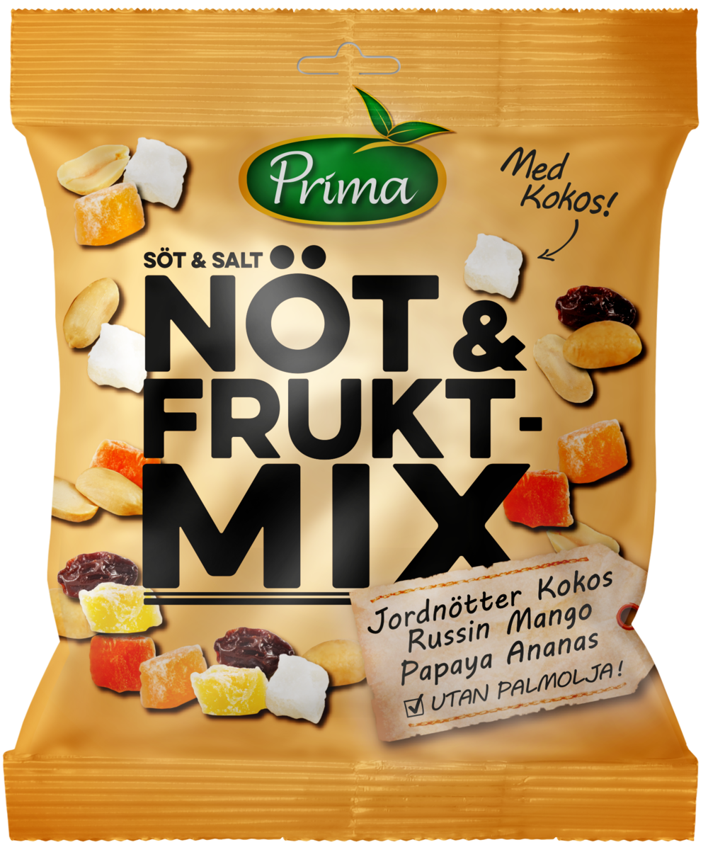 Nöt & Fruktmix - Härlig blandning av sött och salt. Mixen består av jordnötter, russin, kokos, mango, papaya och ananas. Påsen innehåller 150 g.Ingredienser:Torrostade JORDNÖTTER 41% (JORDNÖTTER, salt), russin 30% (russin, solrosolja), Tropisk mix 29% (ananas 35%, papaya 25%, mango 20%, kokos 20%, socker, surhetsreglerande medel E330, konserveringsmedel SVAVELDIOXID).Näringsvärde per 100gEnergi 429 kcal/1837 kJFett 18,4 g, varav mättat fett 2,9 gKolhydrater 52,5 g, varav sockerarter 39,2 gProtein 11,1 gFiber 6gSalt 0,4 g