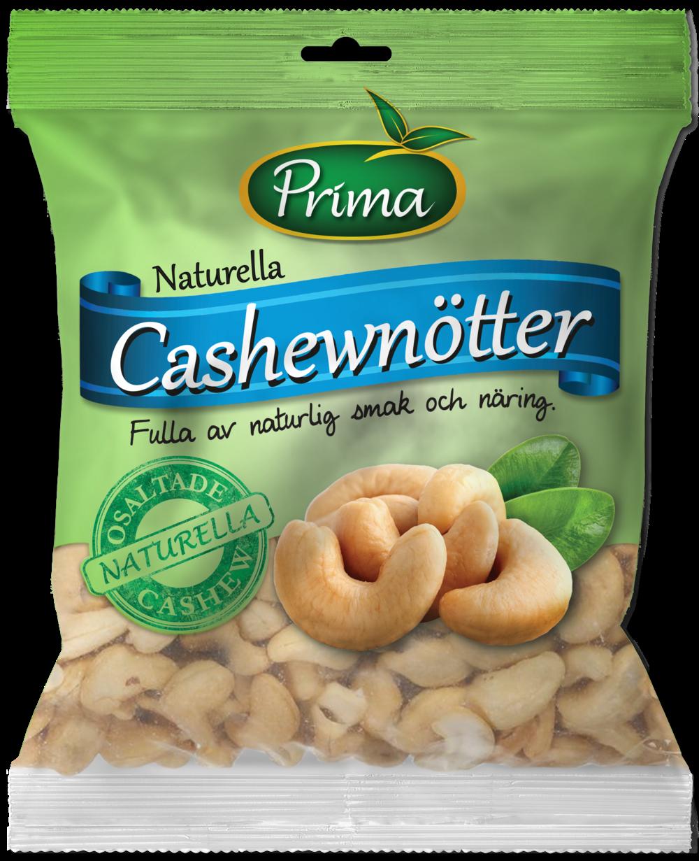 Cashewnötter - Våra naturella Cashewnötter innehåller naturligt mycket omättade fetter och är rika på mineraler, vitaminer och protein.Ingredienser:Naturella CashewkärnorNäringsvärde per 100gEnergi 590kcal/2468kJFett 46g, varav mättat fett 8gKolhydrater 26g, varav sockerarter 6gProtein 18gFiber 6gSalt 0,03g