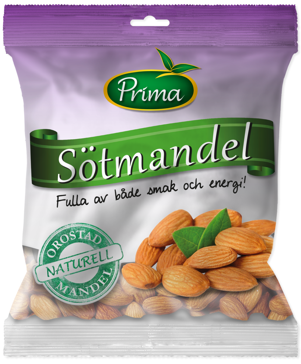 almonds - Almonds natrually are sweet, tasty and crisp. They are also helthy with a high content of monounsaturated fat and rich in vitamin E, calcium and iron. The bag contain 175gIngredients: AlmondsNutritional value per 100gEnergy 585kcal / 2447 kJFett 49g, of which saturated fat 3,7g Carbohydrates 9.5g, of which sugars 3,9gProtein 21gFiber 12gSalt 0g