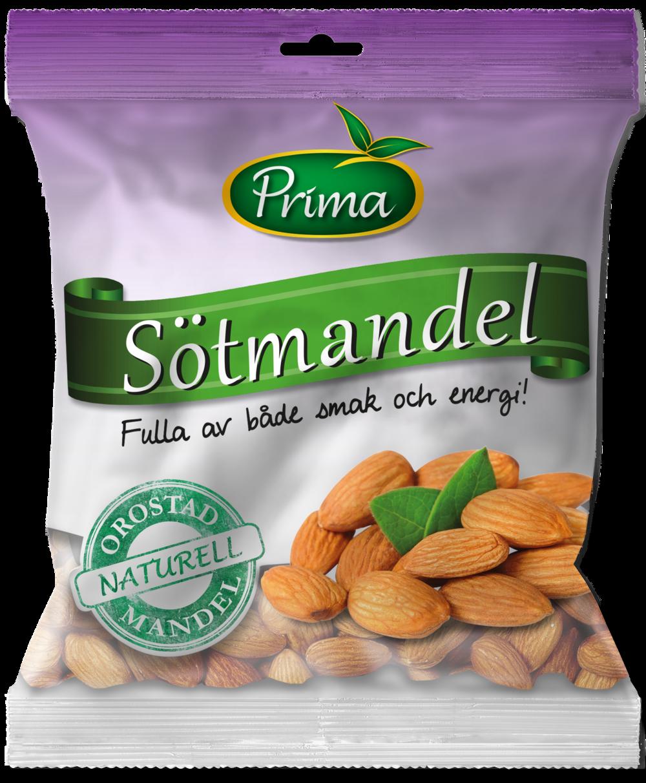 Sötmandel - Mandlar är söta, smakrika och knapriga. De är också nyttiga med ett högt innehåll av enkelomättat fett samt rika på E-vitamin, kalcium och järn.Ingredienser:SötmandelNäringsvärde per 100gEnergi 585 kcal/2447 kJFett 49g, varav mättat fett 3,7gKolhydrater 9,5g, varav sockerarter 3,9gProtein 21gFiber 12gSalt 0 g