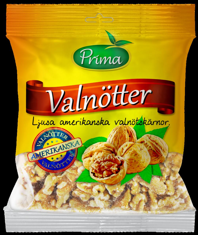 Valnötter - Valnötskärnor från soliga Kalifornien.Påsen innehåller 300 g.Ingredienser:Naturella valnötskärnor.Näringsvärde per 100gEnergi 699 kcal/2800 kJFett 62g, varav mättat fett 5,6gKolhydrater 13g, varav sockerarter 3,4gProtein 14,3 gFiber 6gSalt 0g