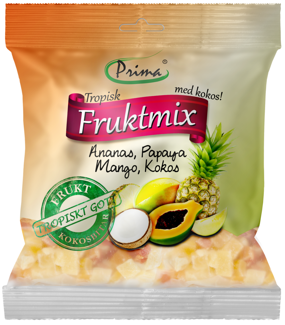 TROPICAL FRUIT MIX - Lovely sweet mix with three tropical fruits and pieces of coconut. The coconut has a naturally firmer texture than the rest of the fruits which leads to a contrasting and tasteful mixture. The bag contain 175 g.Ingredients:Dried pieces of pineapple 35%, papaya 25%, mango 20%, coconut 20%, sugar, preservative E220, acidity regulator E330Nutritional value per 100gEnergy 380 kcal / 1591 kJFat 5g, of which saturated fat is 4gCarbohydrates 83g, of which sugars 65gProtein 1gSalt 335mg