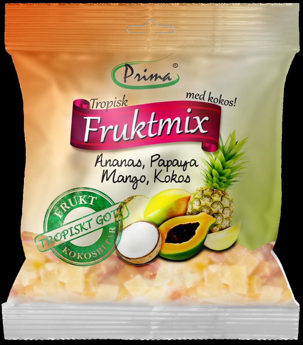 tropisk Fruktmix - Härligt söt blandning med tre tropiska frukter samt bitar av kokos. Kokosen har en naturligt fastare konsistens än resten av innehållet vilket leder till en extra kontrastrik och smakfull blandning. Påsen innehåller 175 g.Ingredienser:Torkade bitar av ananas 35%, papaya 25%, mango 20%, kokos 20%, socker, konserveringsmedel E220, surhetsreglerande E330Näringsvärde per 100gEnergi 380 kcal/1591 kJFett 5g, varav mättat fett 4gKolhydrater 83g, varav sockerarter 65gProtein 1gSalt 335mg
