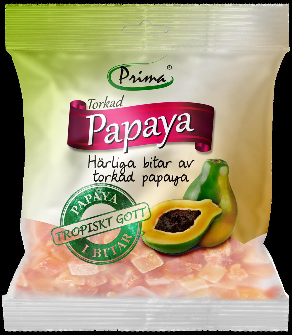 Torkad papaya - Härliga bitar av torkad papaya. Påsen innehåller 175 g.Ingredienser:Torkade bitar av papaya, socker, konserveringsmedel E220, surhetsreglerandemedel E330Näringsvärde per 100gEnergi 330kcal/1382 kJFett 0g, varav mättat fett 0gKolhydrater 82g, varav sockerarter 69gProtein 0gSalt 375mg