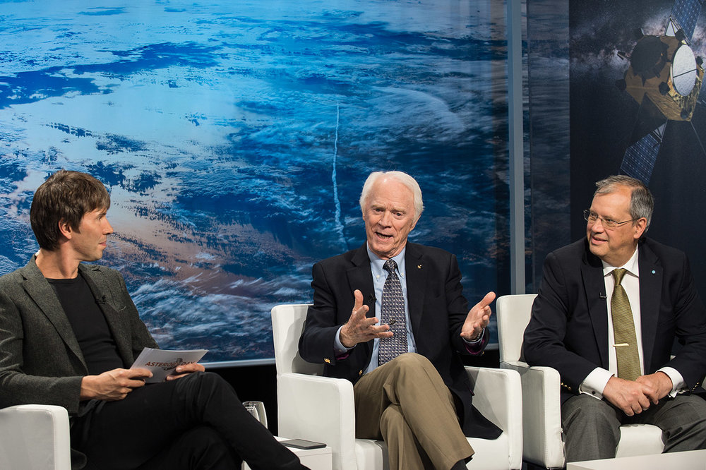 Brian Cox, me, Dorin Prunariu (left to right) on one of the panels during the 2017 live world-wide broadcast of Asteroid Day (UN recognized day of worldwide education re asteroids).