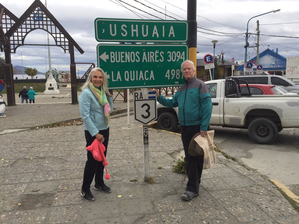 Rams & I in Ushuaia, Argentina about to board a cruise ship to visit Cape Horn & environs. Great trip!