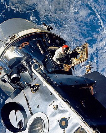 """the famous A9 shot I took  of Dave during my EVA... this was just prior to me heading up the  handrail (foreground) to demonstrate EVA transfer LM>CM... when  Dave's (Maurer) movie camera failed and I got my """"unemployed"""" 5  minutes..."""