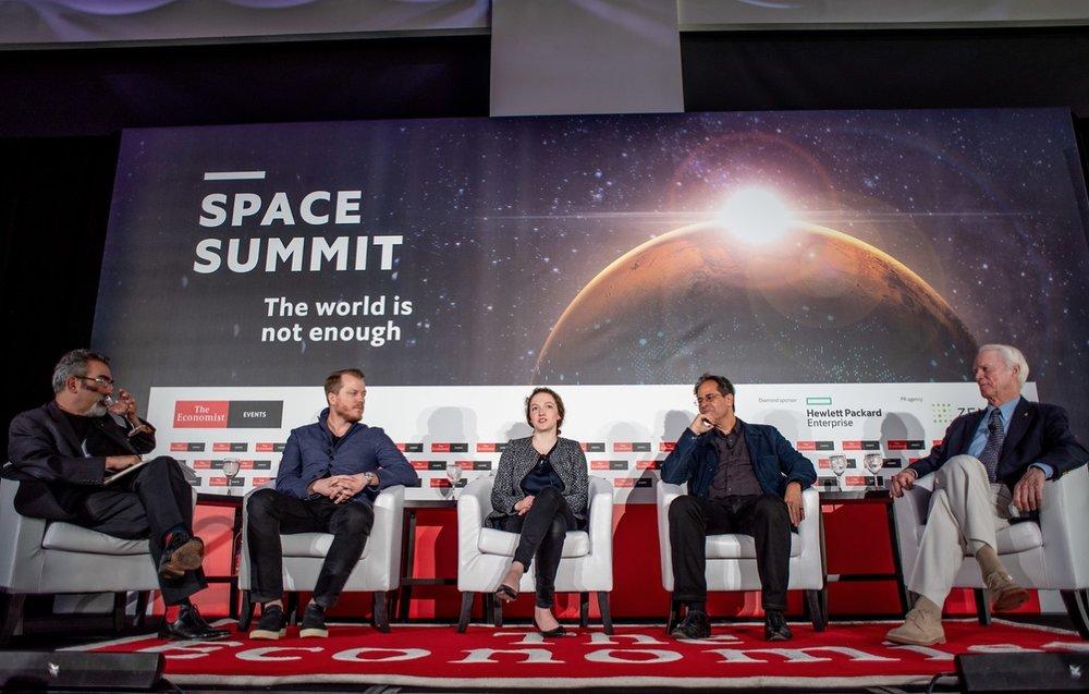 Economist Magazine panel hosted by Oliver Morton (left) in November 2018, NYC