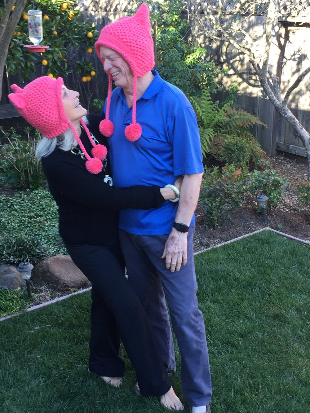 Nancy and I checking out our Pink Pussy hats, early 2017