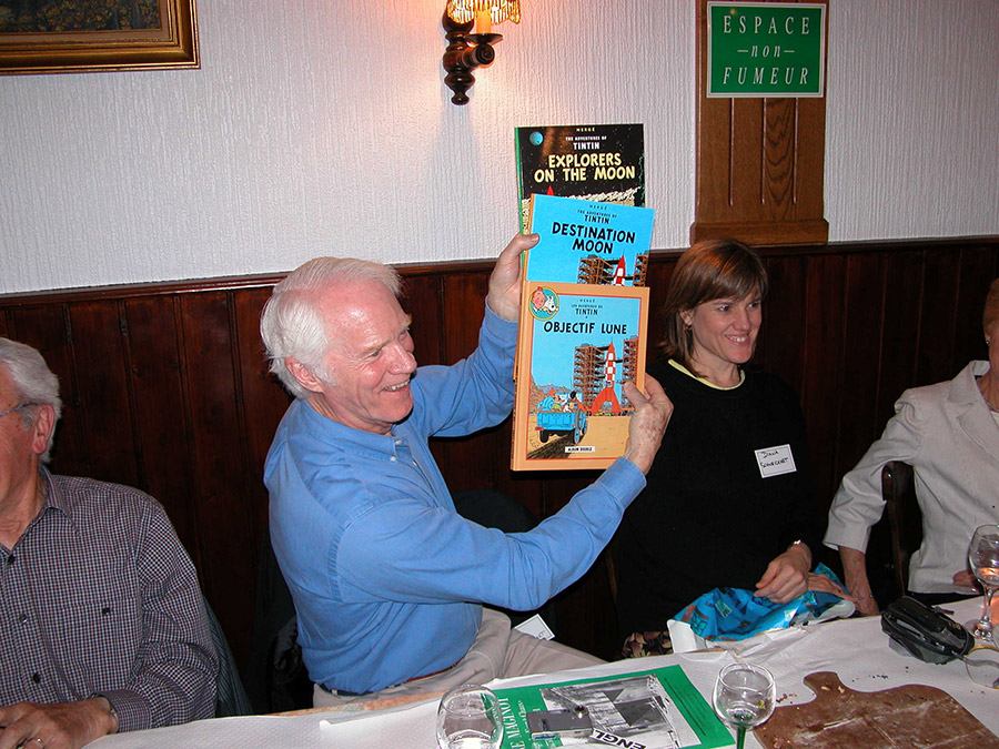Holding up a set of The Adventures of Tintin at a family gathering in Alsace, France. Daughter Diana on my left.