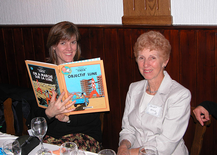 My daughter Diana and my sister Janet showing off one of the Tintin books just gifted to me at a family gathering in Alsace, France. Circa 2005.