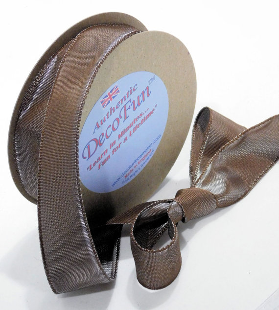 Cocoa Mist Ribbon, Woven Edge Taffeta Ribbon, Silk like feel, Nature's Own brand, made in England 1 inch width (25 mm).jpg