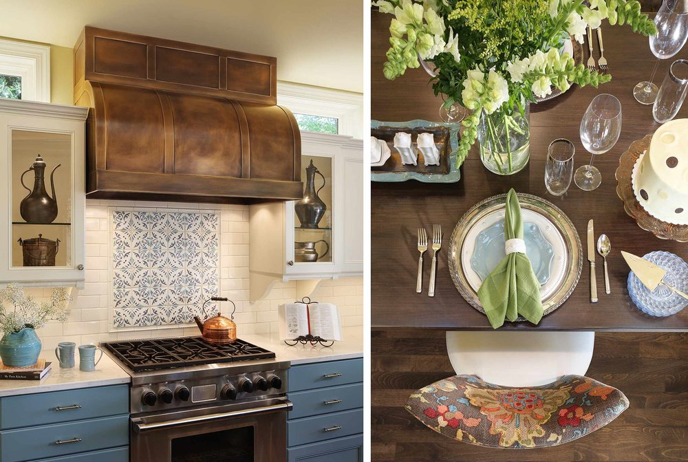 Custom kitchen and table setting detail photography
