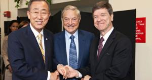 UN Secretary General Ban Ki Moon, George Soros, and Jeffrey Sachs