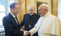 UN Secretary General Ban Ki Moon, Bishop Sorondo, and Pope Francis