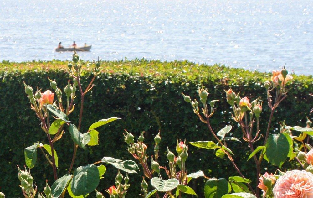 Låna en roddbåt - flytvästar, åror och nyckel finns att hämta i entrén