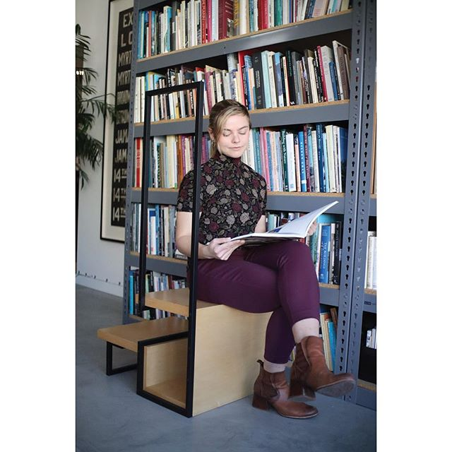 Having such as small firm allows us to take on little projects just for fun. This library ladder was built to accompany our bookshelf. The stepladder matches the rest of our office furniture, while expressing its own unique personality. *Designed and built in San Francisco, CA  Designer: Alyssa Parr @rhythmofpulsatingwaves  Photographer: David Simpson @hi.davidsimpson  Built by: Victor Campero  #woodandmetal #furnituredesign #customfurniture #sanfranciscofurniture #architecture #design #artanddesign #stepladder #libraryladder