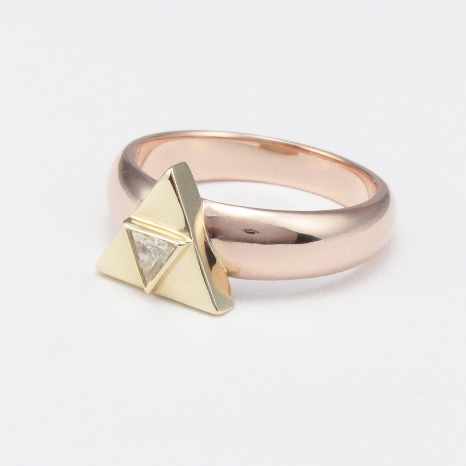 yellow gold and rose gold Triforce engagement ring with triangular centre diamond .jpg