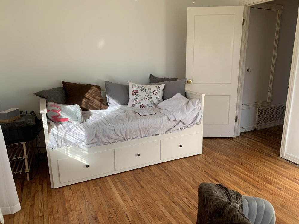 West wall today. This daybed was a Facebook Marketplace steal (originally from IKEA), and so far our guests have loved it (it pulls out to become a full size). It would be a great addition to an office even if the room wasn't serving a double function as a guest room.