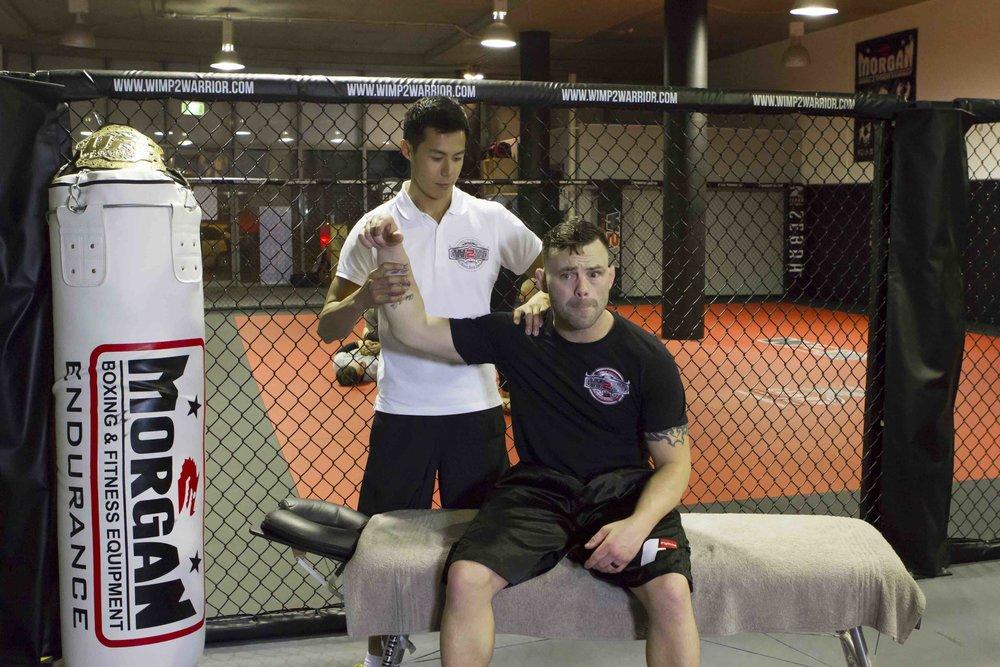 Dr Steve treating Jens Pulver, former UFC Lightweight Champion