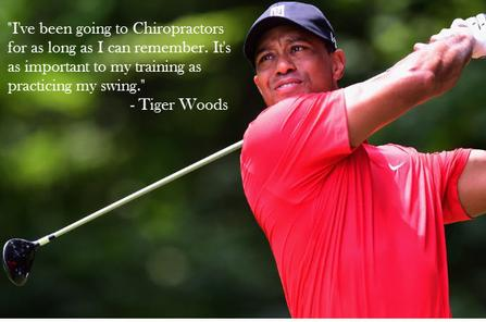 Tiger Woods uses a sports chiropractor to help with his low back pain and improve his golf swing