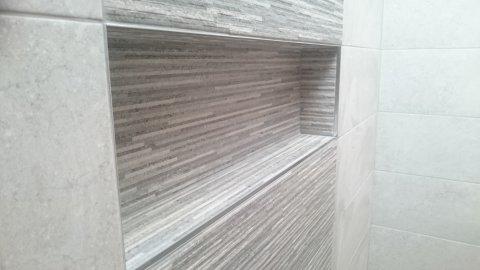 Inset tiled shelf