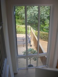 Hall and stairs with panoramic window