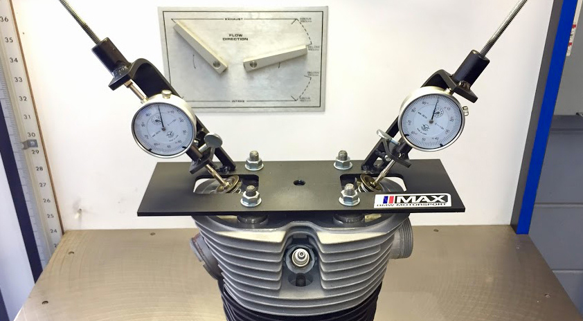 SUPERFLOW FLOW BENCH WITH CUSTOM AIRHEAD ADAPTERS AND VALVE FIXTURES MADE BY MAX BMW Motorcycles.