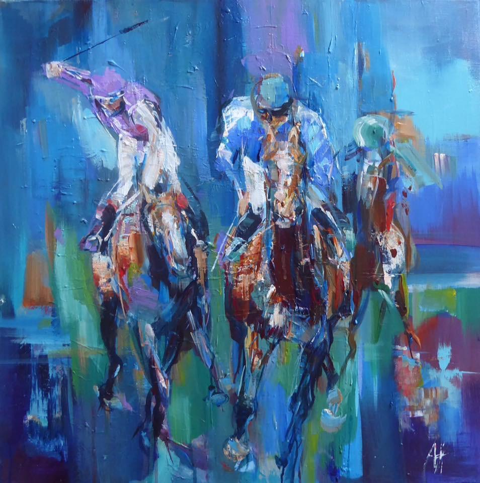 Cheltenham Races, acrylic on canvas