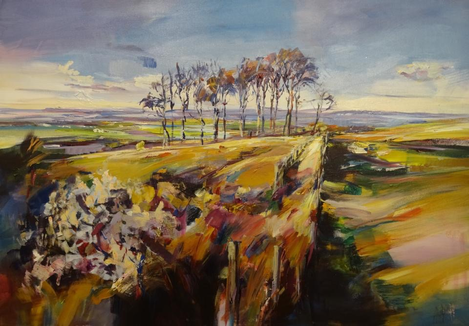 Three Sisters, Cleeve Hill, acrylic on canvas