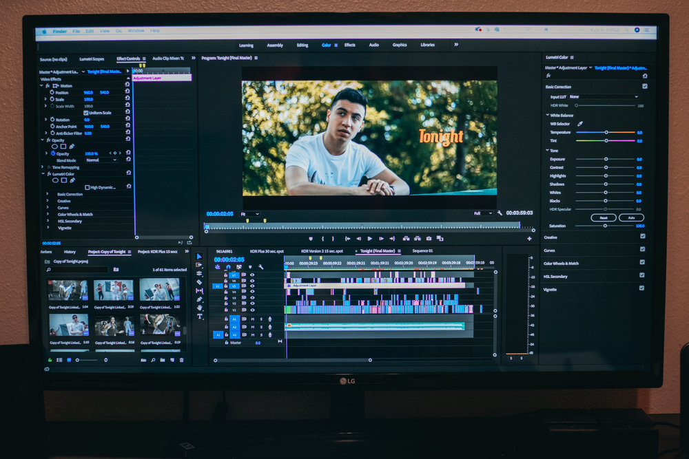 Editing - Once the shoot is over, we'll put your video together just the way you want it. We'll add graphics, music, any stock footage that's needed, and keep it right to the time you need.