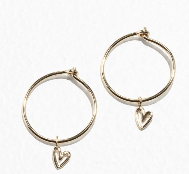 Gold-Plated Heart Mini Hoops - £27