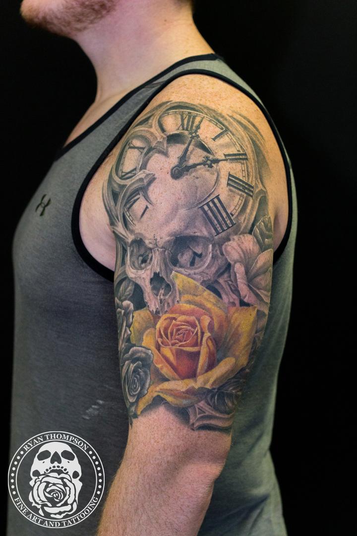 Steve's Skull and Roses Half-Sleeve