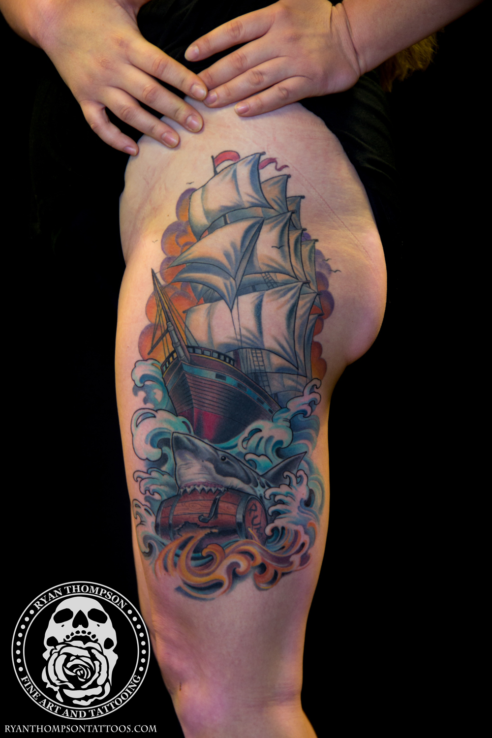 Katie's Ship and Shark Thigh