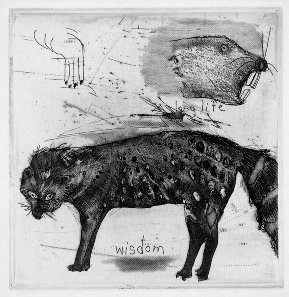 "Wisdom. image 3"" x 3"". Etching. 2000  Native Sioux lore says the weasel represents wisdom, and the beaver long life."
