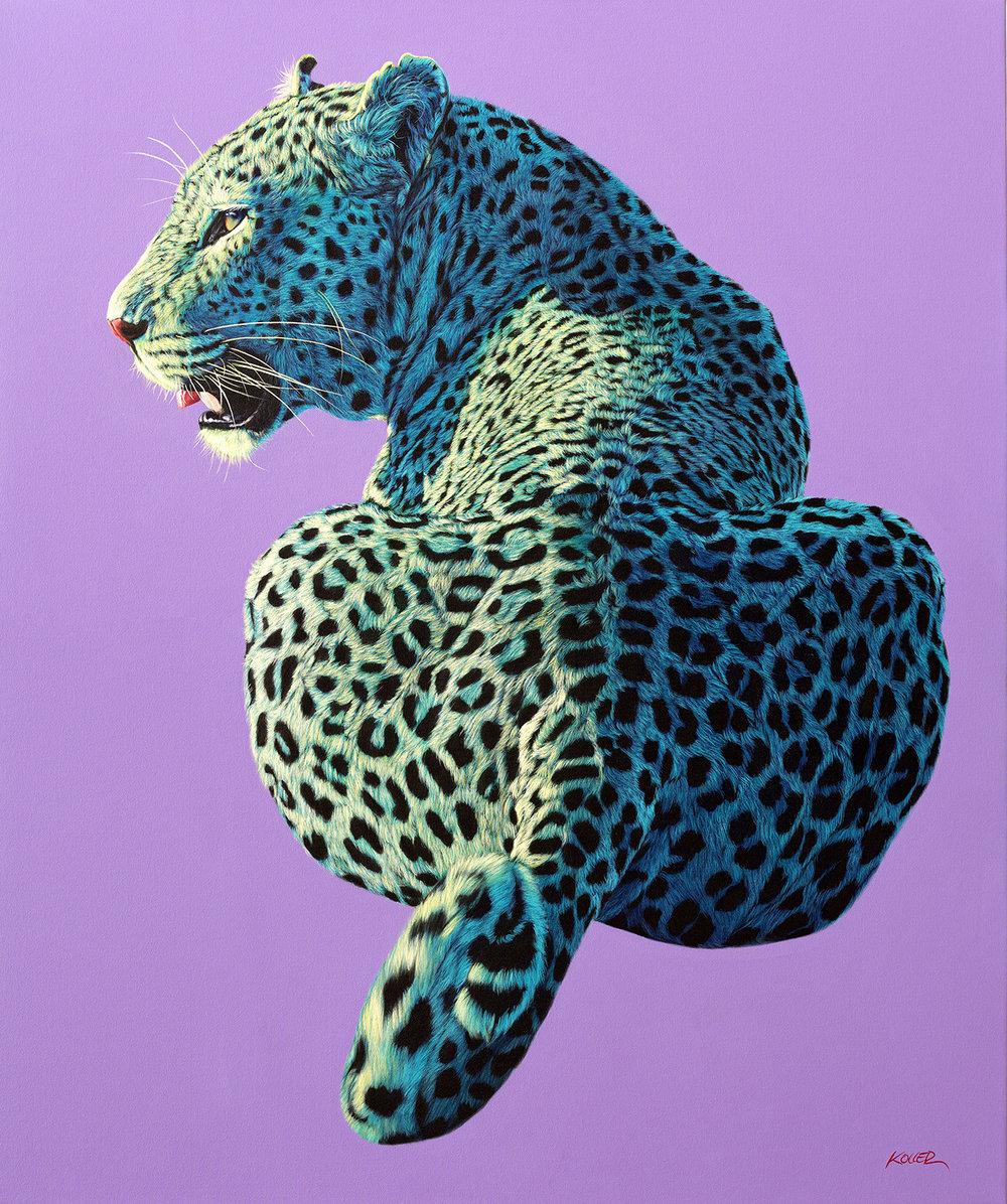Helmut Koller, Leopard on Light Purple