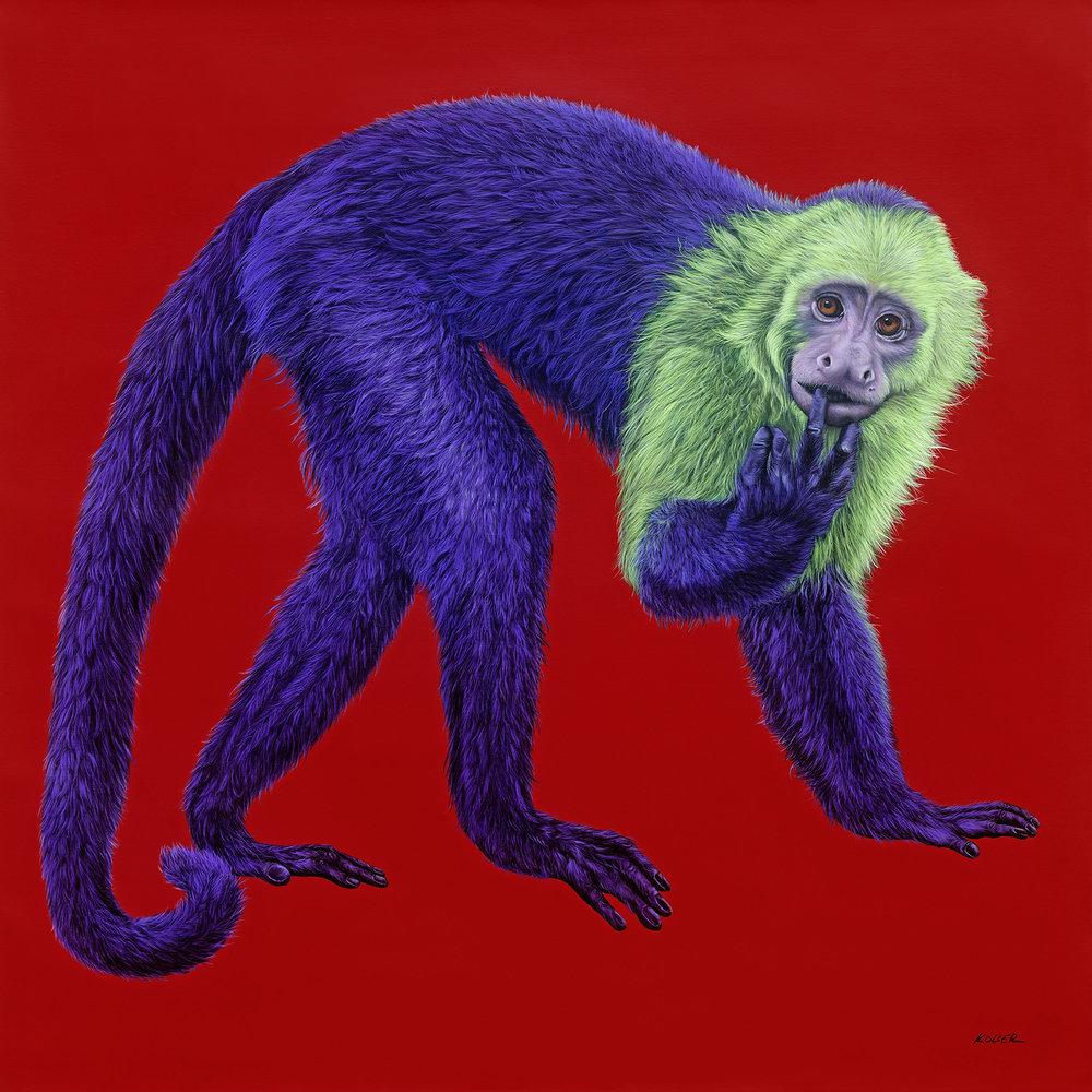 Helmut Koller, Purple Monkey on Red