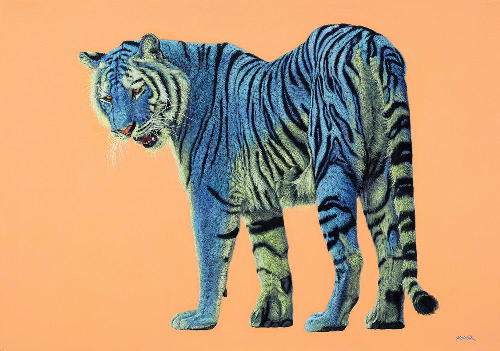 Helmut Koller, Blue and Green Tiger on Light Orange