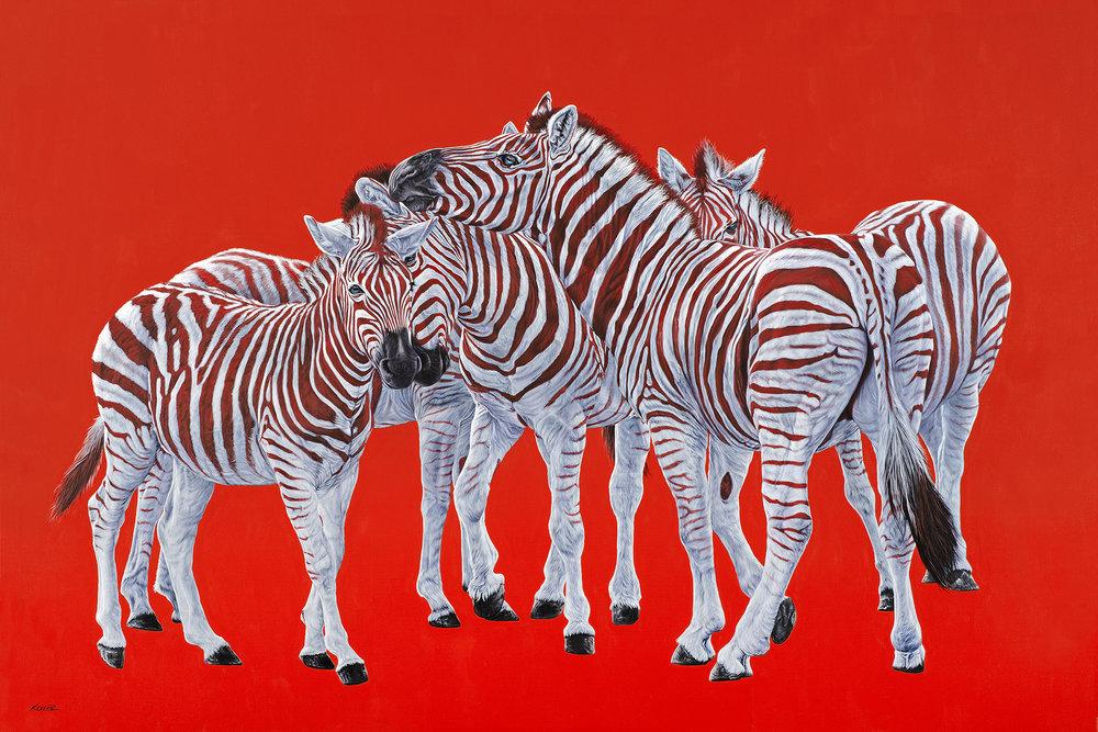 Helmut Koller, Five Zebras on Red