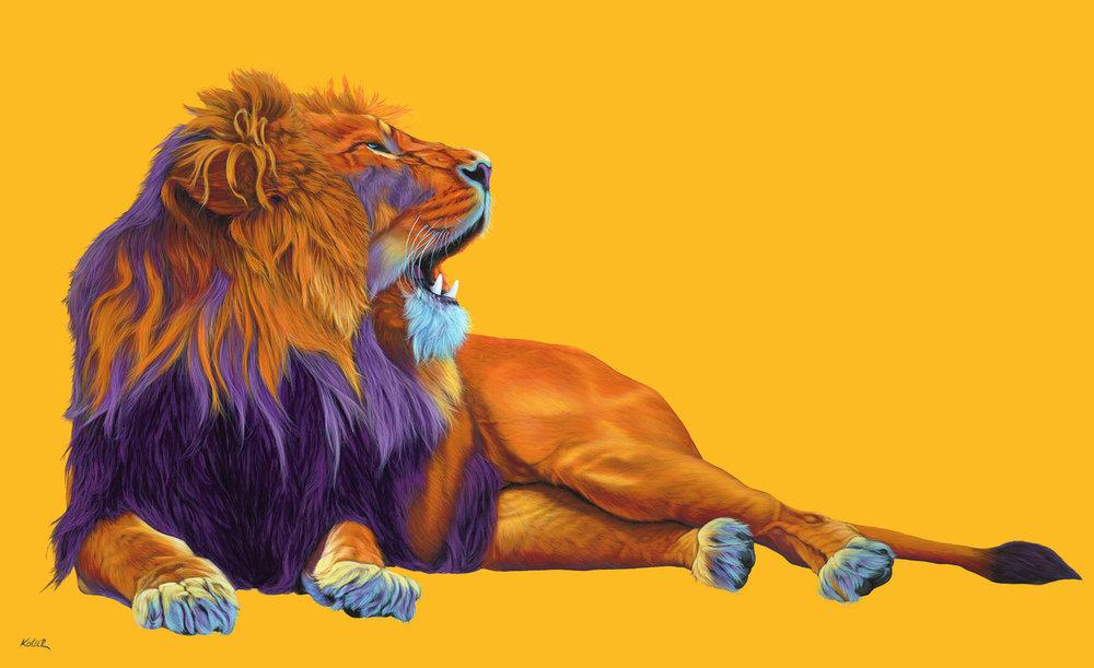 Helmut Koller, Orange Lion on Yellow