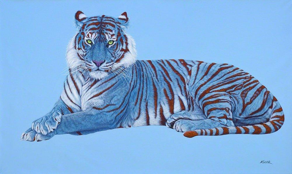 Helmut Koller, Blue Tiger on Blue with Red Stripes