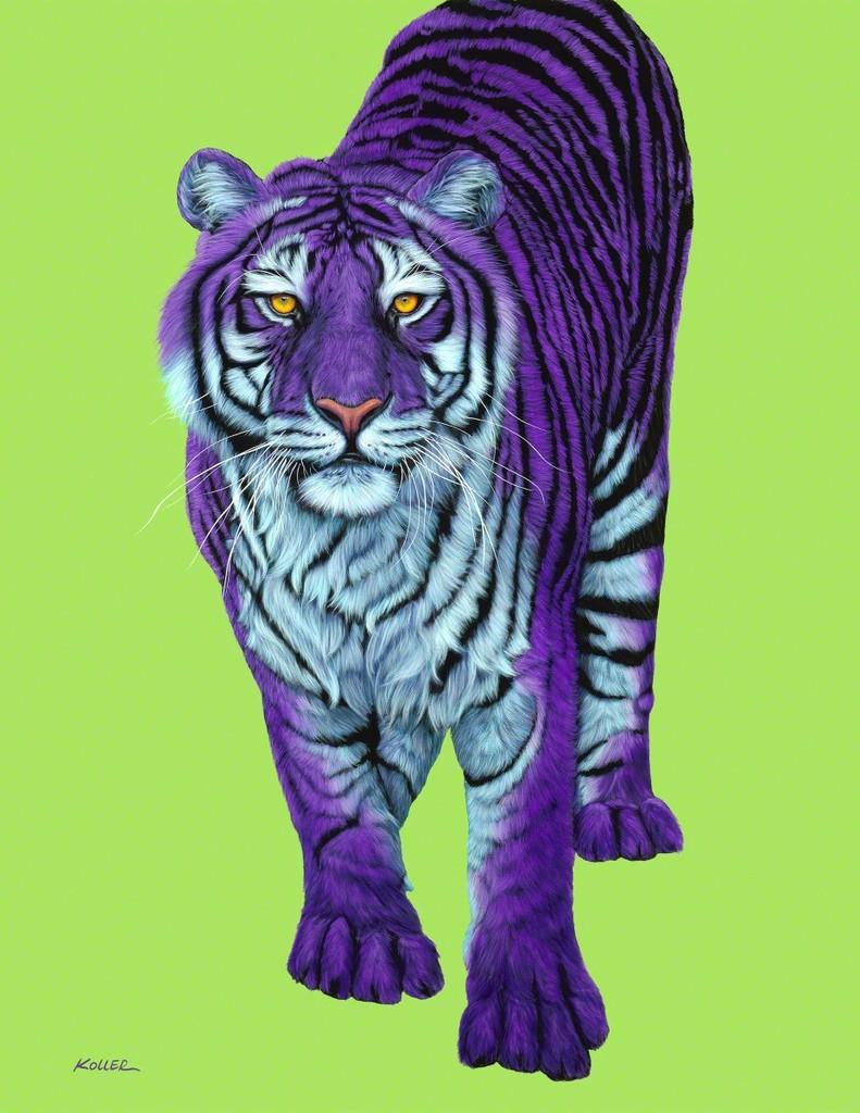 Helmut Koller, Purple Tiger with Black Stripes