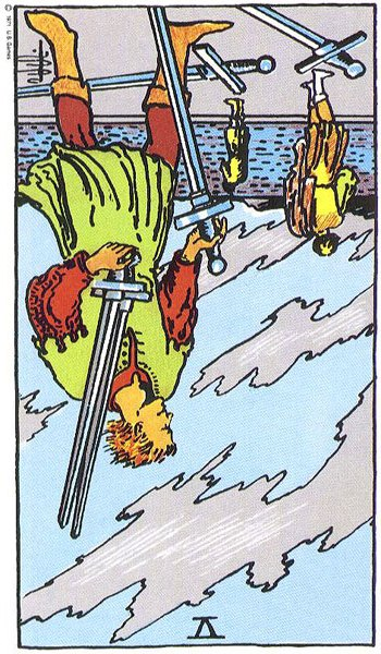 V of Swords reversed Rider Waite Smith tarot