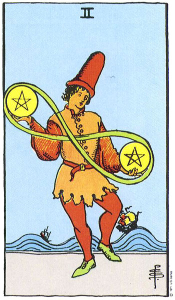 II of Pentacles Rider Waite Smith tarot