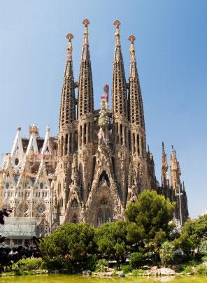 The Sagrada Familia in Barcelona, Spain.