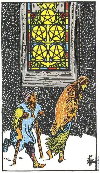 V of Pentacles Rider Waite Smith deck