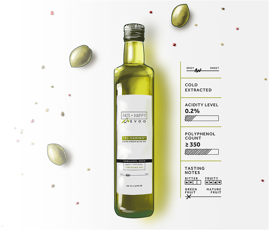 Olive oil bottle illustration for Fats + Happy EVOO