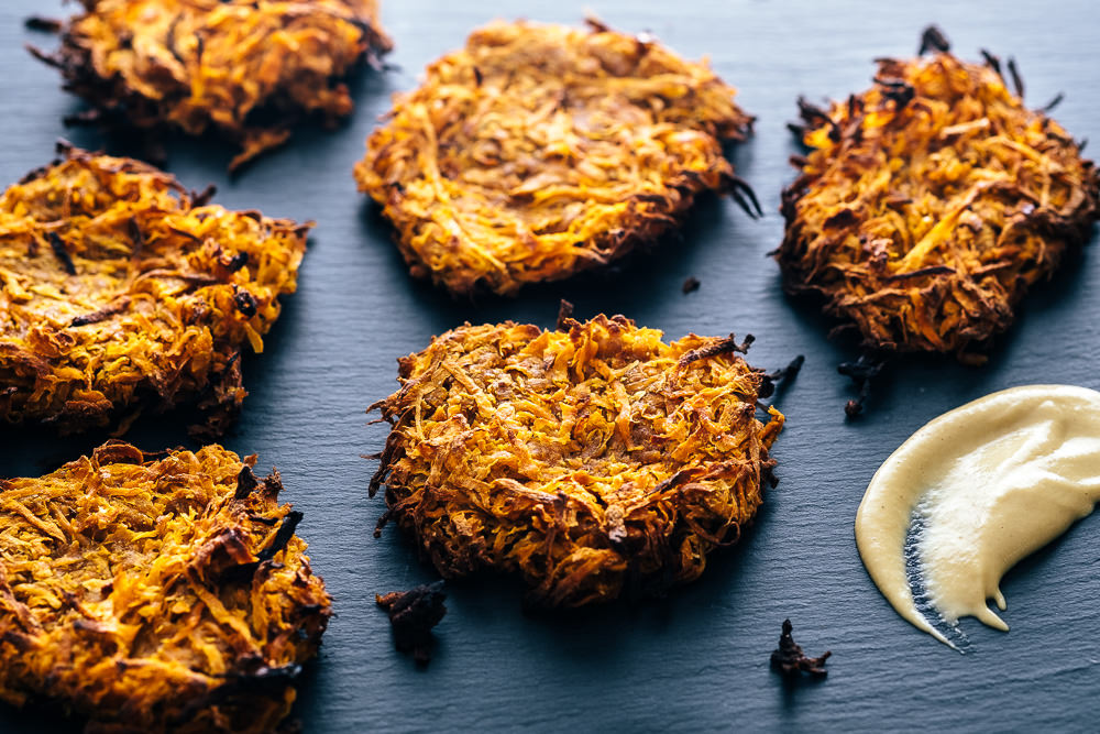 sweet potato rosti with a side service of dijon mustard www.realfamilyjourney.com