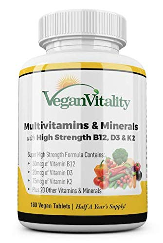 Vegan Multivitamins & Minerals with High Strength Vitamin B12, D3 & K2. 180 multivitamin Tablets - 6 Months Supply -